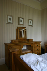 Culter Fell Bedroom showing Dressing Table and king size bed and 100% Egyptian cotton bedding